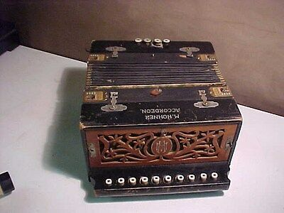 Antique Hohner Accordion With Corner Badges Clover Bellows