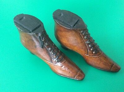 "Superb Pair Mid Victorian   Miniature Treen Snuff Shoe / Boot Boxes ""love Token"""