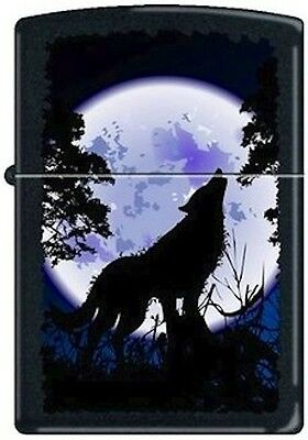 "New Refillable Zippo Petrol Lighter ""Wolf Howling at the Moon"" on black matte"