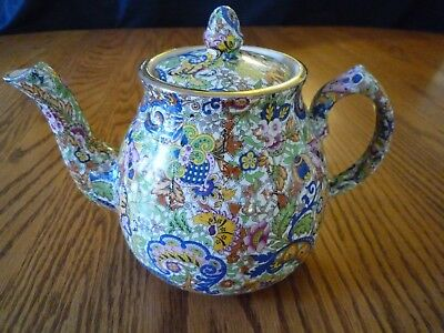 Vintage Wade Heath Paisley Chintz Tea Pot Teapot with Gold Leaf Rim Trim England