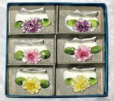 Coalport Bone China 6 Set Floral Place Card Holders Great Condition Free Ship