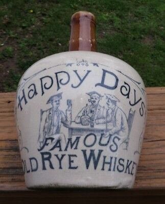 HAPPY DAYS FAMOUS OLD RYE WHISKEY..Excellent 2 Tone Advertising Whiskey Jug