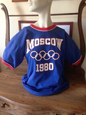 "1980 Vintage ""Russell Athletics Olympic T-shirt, 100% Cotton Very Nice Cond., XL"