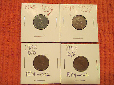 Lincoln Cent Error * Lot of 4 Error Coins * Clip Planchet , RPM * Free Shipping
