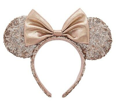 Minnie Mouse Bow Rose Gold Sequin Ears Headband New Authentic Item