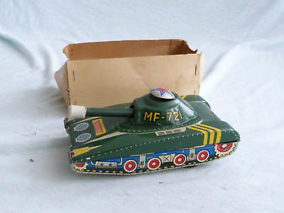 Red China MF 721 Panzer Tank Blech Spielzeug Tin Toy Friction 70er Jahre