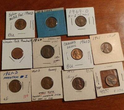 1960's Lincoln Cent Error Collection. Cud's, cracks, variety's.