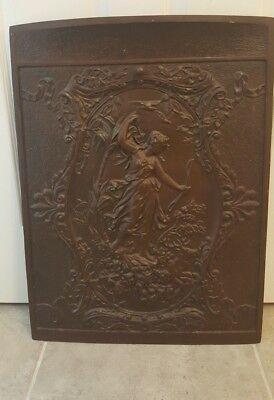 Antique Cast Iron Fire Place Cover Ornate Victorian Lady Vintage