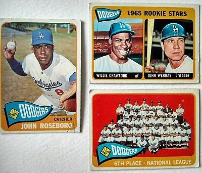 3 x Topps Los Angeles Dodgers 1965 baseball cards