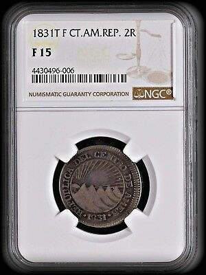 1831 T F Central American Republic 2 Silver Reales NGC F-15