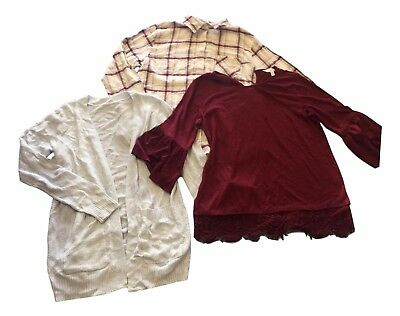 LOT of 3 Lauren Conrad Sonoma Size Small Top Flannel Long Sleeve Cardigan NEW
