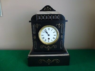 Antique French Slate and Marble Mantle Clock