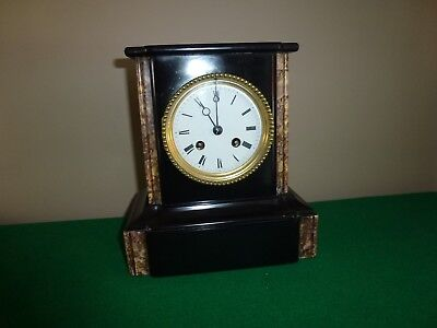 Antique Japy Freres Two Train Black Slate and Marble Mantle Clock.