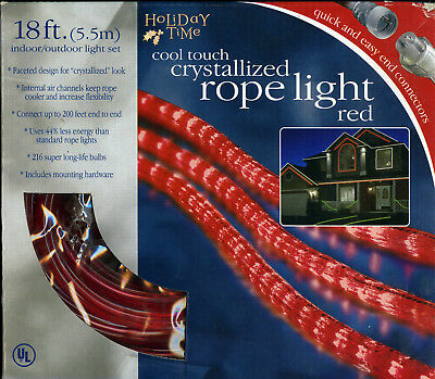 New 18 ft holiday time blue crystallized rope light indoor outdoor red holiday time rope lights 18 ft indooroutdoor ul listed aloadofball Gallery