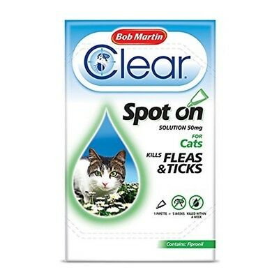 Bob Martin Flea & Tick Clear Fipronil Cat Spot-on Solution, 1 Tube - Spot Cats