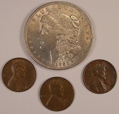 Group of 4 Error Coins - Including a 1921 Morgan Dollar Rim Clip