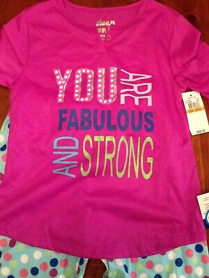 """NWT Sleep On It Girls """"You Are Fabulous And Strong"""" PJ's Small (7-8)"""
