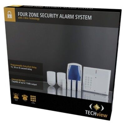 Four Zone home office garage Security Alarm System with 2 Wire Technology new