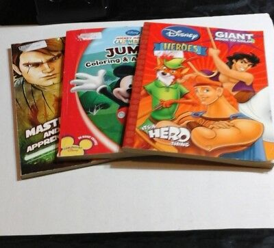 DISNEY COLORING BOOKS 3 Giant Color Activity Book Lot MICKEY MOUSE STAR WARS