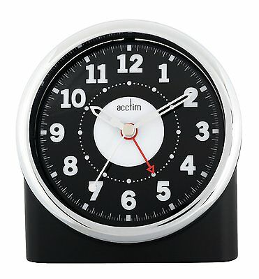Acctim Central Non Tick Alarm Clock in Black Case With Silver Bezel  (our ref 4R