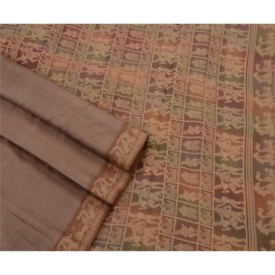 Sanskriti Antique Intage Saree 100% Pure Silk Woven Craft Fabric Baluchari Sari