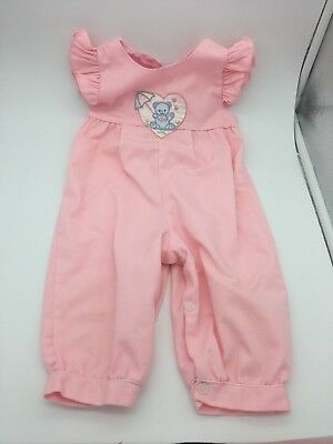 Vintage Baby Girls Pink Romper w/Ruffle Short Sleeves and Embroidered Bear 6/9 M