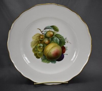 "Meissen German Hand Painted Fruit & Gold Scalloped 9 1/2"" Dinner Plate (MSS108)"