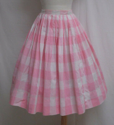 Vintage 60's Pink Plaid Cotton Full Skirt Miss Pat
