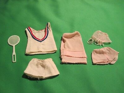 Vintage Barbie 1960's Pink Lingerie Set and White w Red/Blue Trim Tennis Outfit
