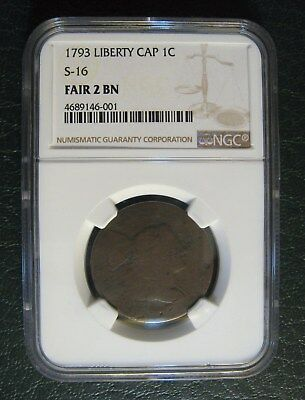 1793 Liberty Cap Large Cent S-16 Fair 2 BN NGC