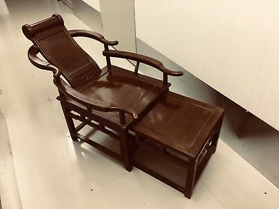 Vintage Chinese Black Wood Chaise Lounge Chair Ottoman Stool 18th c
