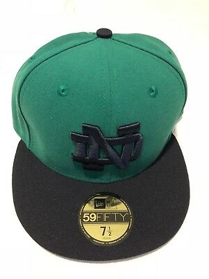 Notre Dame Fighting Irish New Era 5950 Fitted Hat Cap Green Navy Blue mens 7 1/2