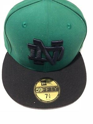 Notre Dame Fighting Irish New Era 5950 Fitted Hat Cap Green Navy Blue mens 7 3/8