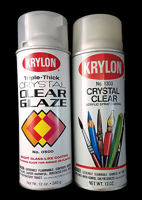 2 Vintage Spray Paint Cans Krylon Crystal Clear 1303 & 0500 Partial Cans Borden