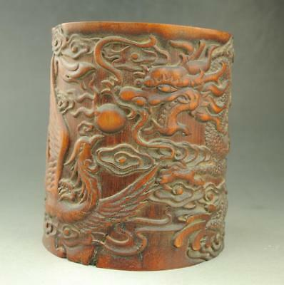 Chinese old  Exquisite  hand engraving dragon and phoenix   bamboo brush pot d02