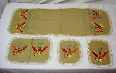 WWII Army Embroidered Table Cloth Lot