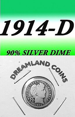 1914-D Barber Better Grade 90% Silver Dime===Used===Silver======================