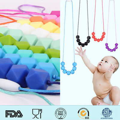 Baby Teething Necklace Chewing Hexagon Silicone Beads Sensory Jewelry BPA Free