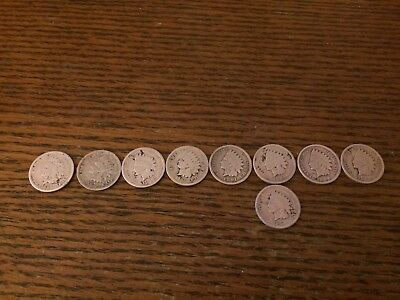 (9) Lot of Indian Head Pennies 1865-1899