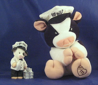 Mary's Moo Moos Got Milk Cow Figure and Plush NEW 2 pcs White Moustache