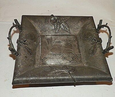 Antique Silver Plated Aesthetic Movement Basket Tray Figural Frogs Lily Pads