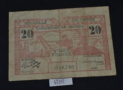 West Point Coins ~ New Caledonia 1948 20 Franc Note