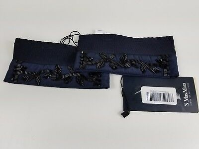 NWT 'S MAX MARA BELGIO Women's Navy Crystal Embellished Cube Collection Cuffs OS