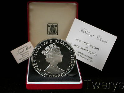1985 Falkland Islands Silver 25 Pounds Self Sufficiency Proof With Box & Coa