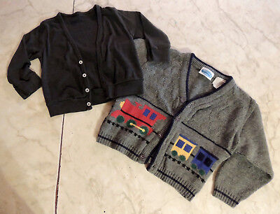 LOT Unisex Infants' Black Cardigan 12-18 mo & Choo Choo Train Sweater 3T LOT