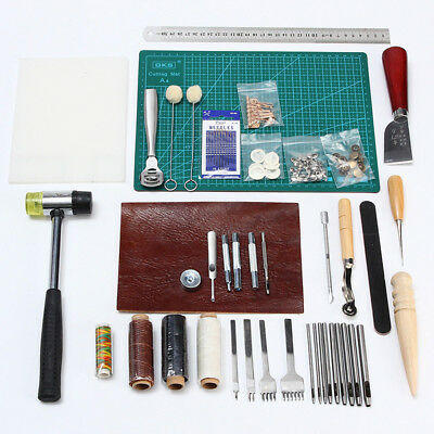 42 Pcs Leather Craft Cutter Carving Working Stitching Sewing Punch Tool KitSC