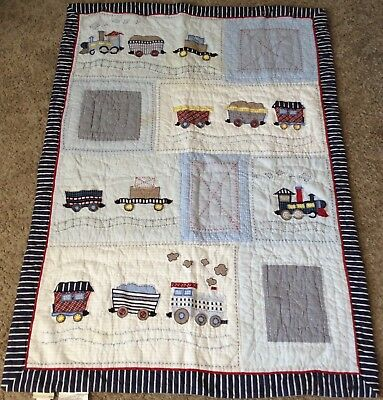 Pottery Barn Kids Train Baby Quilt Embroidered Appliqué Boys Locomotive