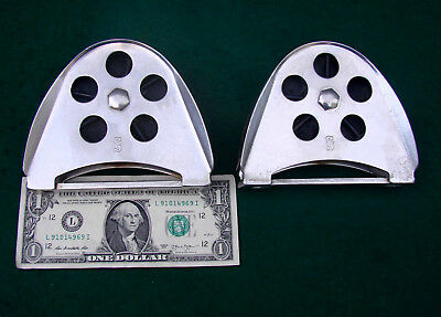 PAIR Schaefer LARGE HALF MOON SS GENOA LEAD/TURNING BLOCKS-Cost a FORTUNE-L@@K