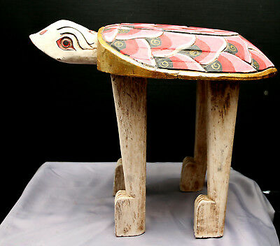 Vintage Nicely Hand Crafted Burmese Wooden Side Table Made In Shape Of Tortoise