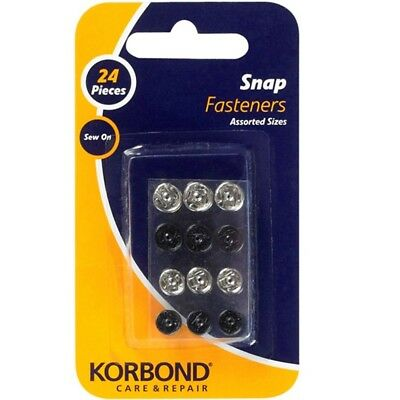 Pack Of 24 Sew On Snap Fasteners - Korbond 24pcs Garments Bed Linen New 110223